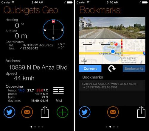 تطبيق Quickgets Geo للملاحة وتحديد احداثياتك