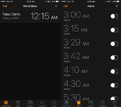تطبيق الساعة يدعم الوضع المظلم أو dark mode