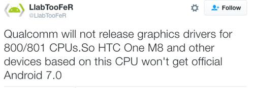 بعض الأجهزة العامة بمعالجات كوالكم لن تحصل على الأندرويد 7.0