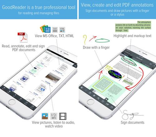 تخفيض على تطبيق GoodReader المميز لإدارة ملفات PDF
