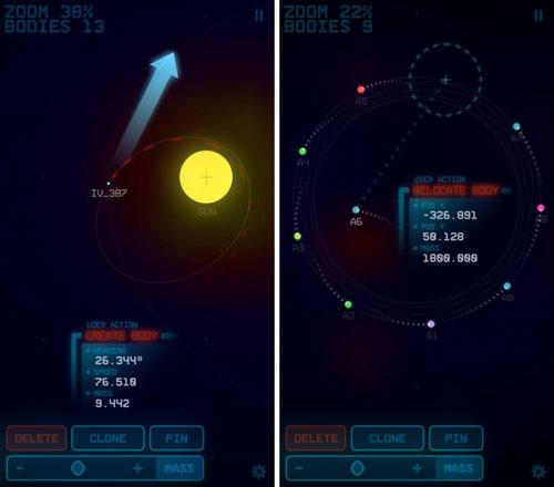 تطبيق Gravity App لمحاكاة حركة المجموعة الشمسية