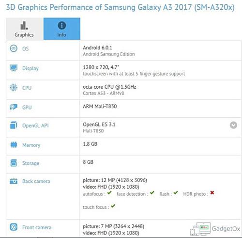 رصد تفاصيل جهاز جالاكسي A3 نسخة 2017