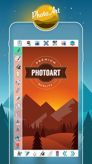 تطبيق PhotoArt لتصميم البطاقات الخاصة والأيقونات والشعارات وغيرها
