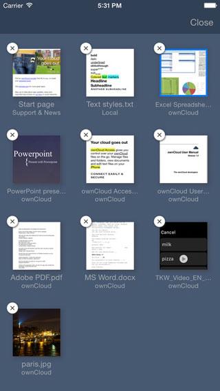 تطبيق ownCloud Access لإدارة المستندات