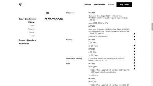 تسريب مواصفات جهاز بلاكبيري Argon مع اسم DTEK60