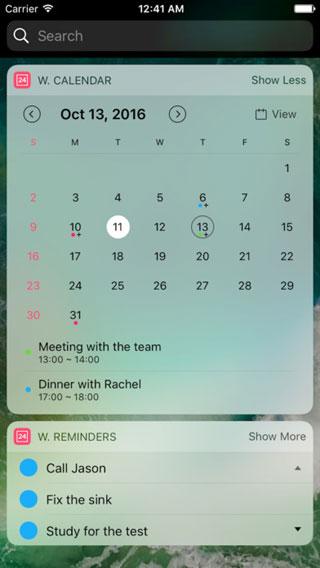 تطبيق Widget Calendar للحصول على ويدجت التقويم