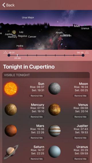 تطبيق Night Sky 4 لمعرفة أماكن الكواكب والنجوم