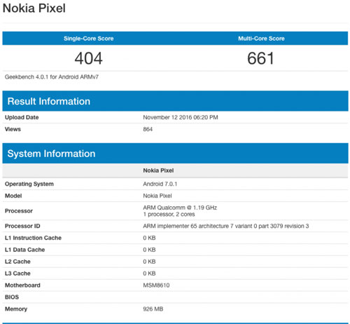رصد هاتف من شركة نوكيا ضمن منصة GeekBench