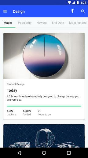 تطبيق Kickstarter الخاص بشبكة دعم المشاريع المميزة