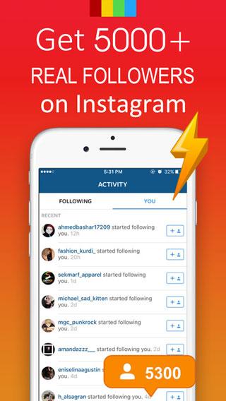 تطبيق Get Followers للحصول على أكثر من 5000 متابع في انستغرام