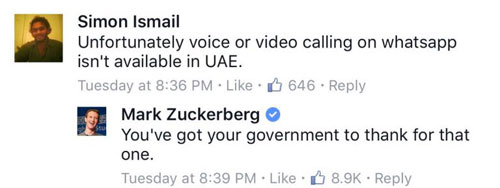 مارك زكربيرغ يرد على منع واتس آب في الإمارات