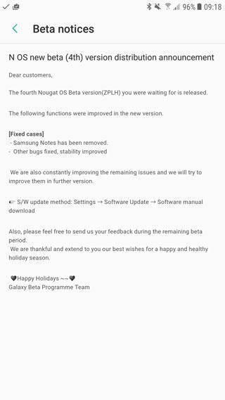 إطلاق النسخة التجريبية 4 من الأندرويد نوجا لهواتف Galaxy S7 و S7 edge
