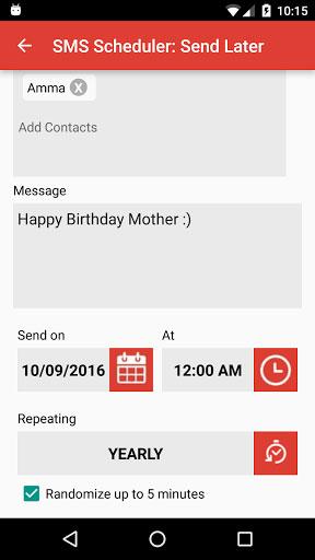تطبيق SMS Scheduler لتحديد موعد لإرسال SMS