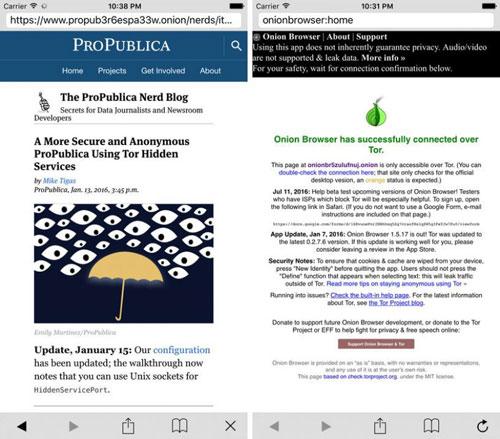 تطبيق Onion Browser متصفح محمي بواسطة حدمة تور
