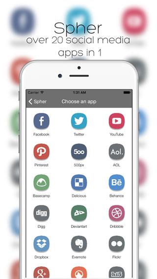 تطبيق Spher جميع الشبكات الاجتماعية في تطبيق واحد