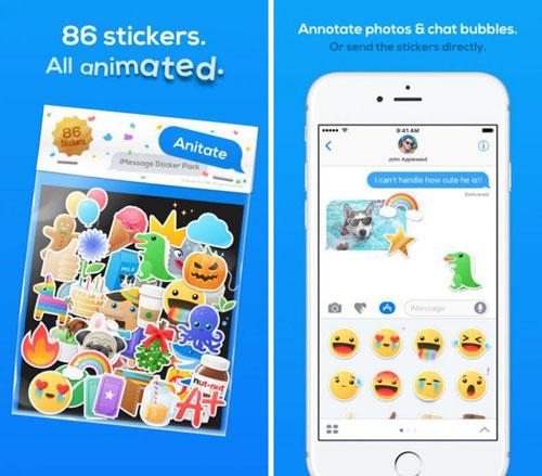 تطبيق Anitate لوحة مفاتيح بملصقات كثيرة