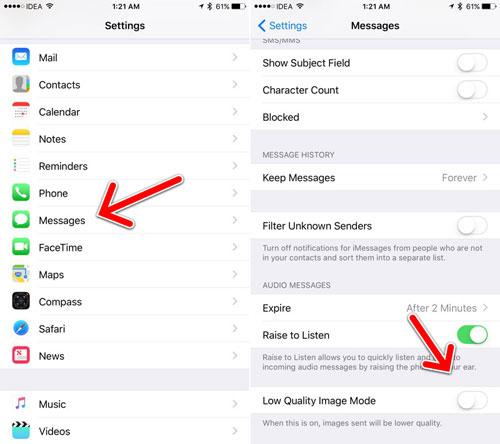 استهلاك البيانات عبر تطبيق iMessage