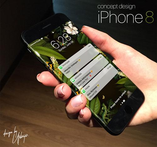 تصميم تخيلي لجهاز الأيفون 8 مع شاشة منحنية !