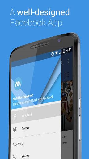 تطبيق Metal for Facebook & Twitter لتصفح تويتر وفيسبوك في مكان واحد