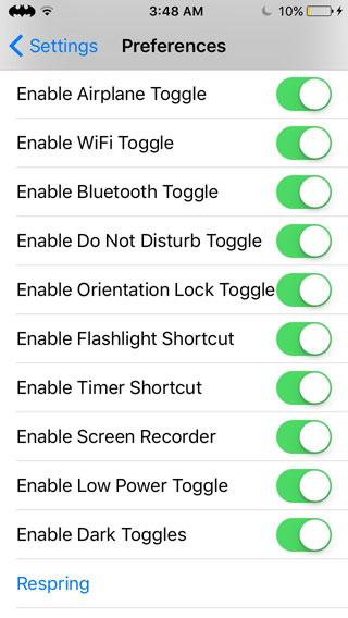 أداة ControlMycenter لتغيير ألوان خيارات مركز التحكم