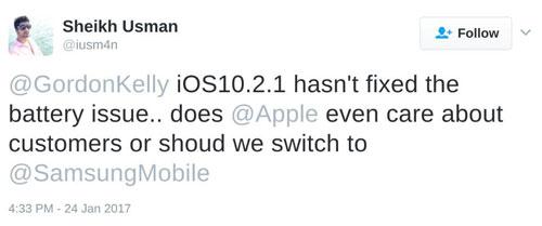 مشكلة بطارية الأيفون والآيباد iOS 10.2