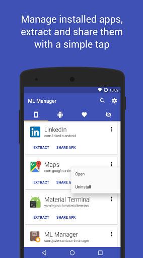 تطبيق ML Manager لإدارة التطبيقات واستخراج ملف APK