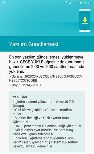 Galaxy Note 5 يحصل على تحديث Android 7 Nougat - الإشعار باللغة التركية
