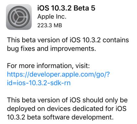 آبل تطلق الإصدار 5 التجريبي من  iOS 10.3.2 - ماذا عليك أن تفعل ؟