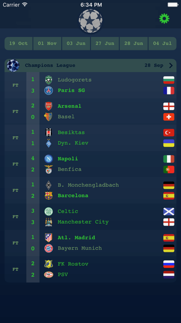 تطبيق Live Results Champions League