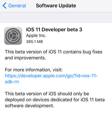 آبل تقوم بإطلاق النسخة التجريبية الثالثة من نظام iOS 11 - ما الجديد ؟