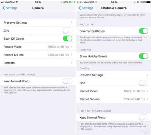 إعدادات الكاميرا في الإصدار iOS 11
