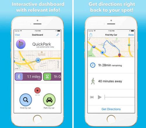 تطبيق QuickPark لمعرفة مكان ركن السيارة