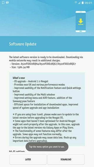 سامسونج تطلق تحديث الأندرويد 7.0 لهاتفها جالكسي A5 نسخة 2017