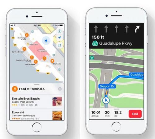 تطبيق الخرائط بين iOS 10 وiOS 11