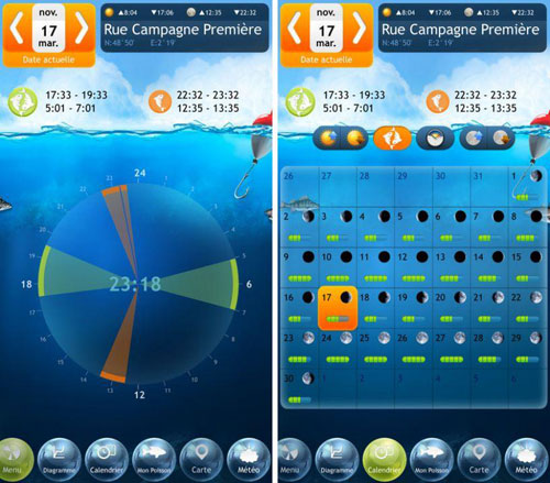 تطبيق Fishing Deluxe تقويم اصطياد السمك