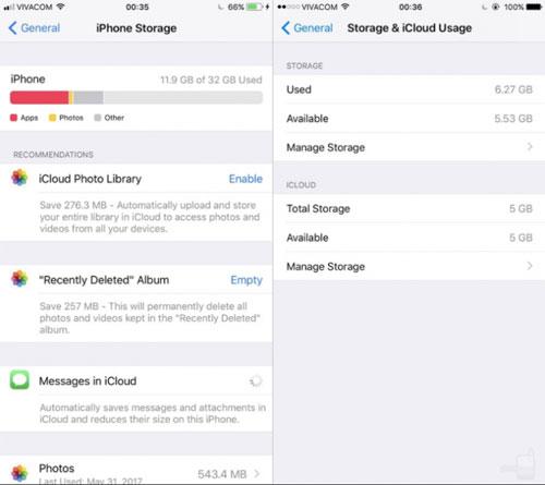 إحصائيات التخزين بين iOS 11 وiOS 10