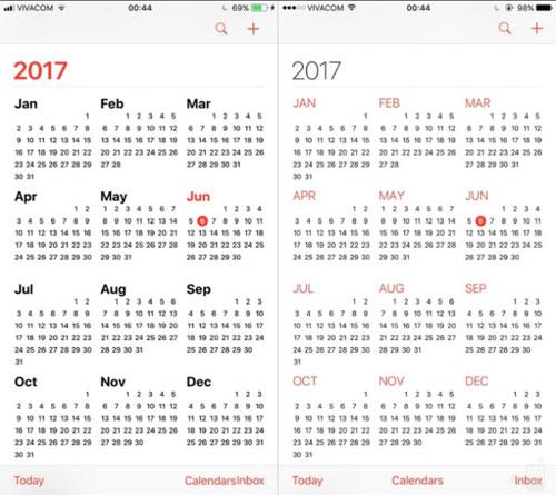 تطبيق التقويم بين iOS 10 وiOS 11 - تغييرات خفيفة