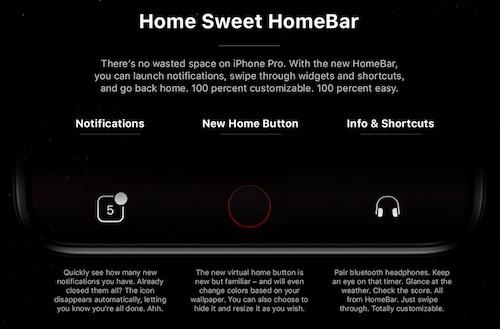 تصميم تخيلي يستعرض HomeBar على جهاز الأيفون 8