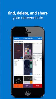 تطبيق Screenshots لحذف صور الشاشة