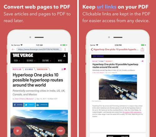 تطبيق InstaWeb لتحويل صفحات الويب إلى PDF