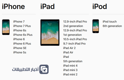 الأجهزة المتوافقة مع نظام iOS 11