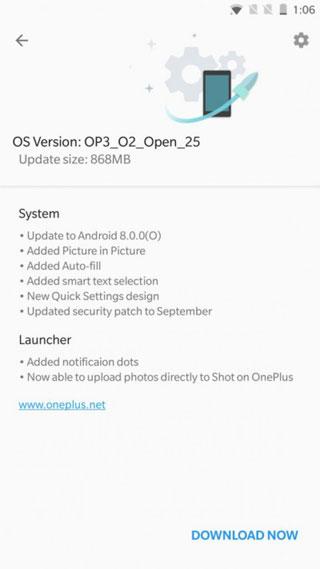 إطلاق النسخة التجريبية من نسخة أندرويد 8.0 لـ OnePlus 3/3T