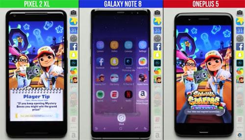 تحدي السرعة بين جالاكسي نوت 8 و OnePlus 5 و بيكسل 2 XL
