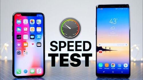 اختبار السرعة بين ايفون X وجالاكسي نوت 8 - أيهما أسرع ؟