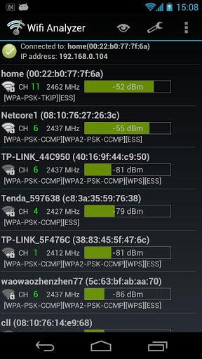 تطبيق Wifi Analyzer لفحص شبكات الواي فاي