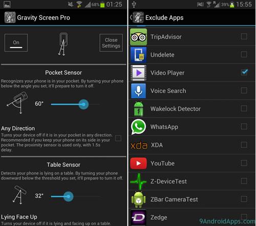 تطبيق Gravity Screen - On/Off لإطفاء شاشة الجهاز في وضعيات معينة