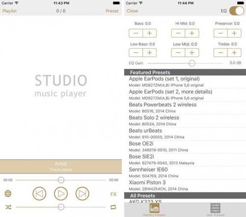 تطبيق Studio Music Player لتعديل النسق الصوتي