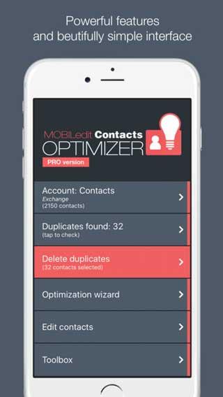 تطبيق Contacts Optimizer Pro للتحكم في جهات الاتصال