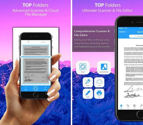 تطبيق Top Folders Pro لإدارة المستندات وماسح ضوئي