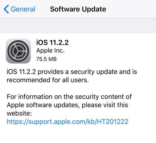 آبل تطلق تحديث iOS 11.2.2 - إصلاحات أمنية مهمة